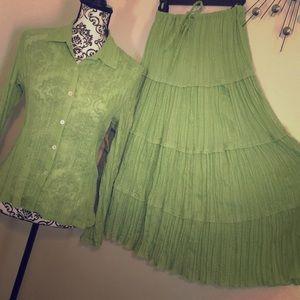 VTG Erinlondon 4 tier gauze Skirt &Top Set Size S